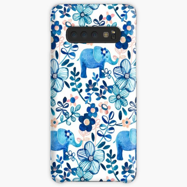 Blush Pink, White and Blue Elephant and Floral Watercolor Pattern Samsung Galaxy Snap Case