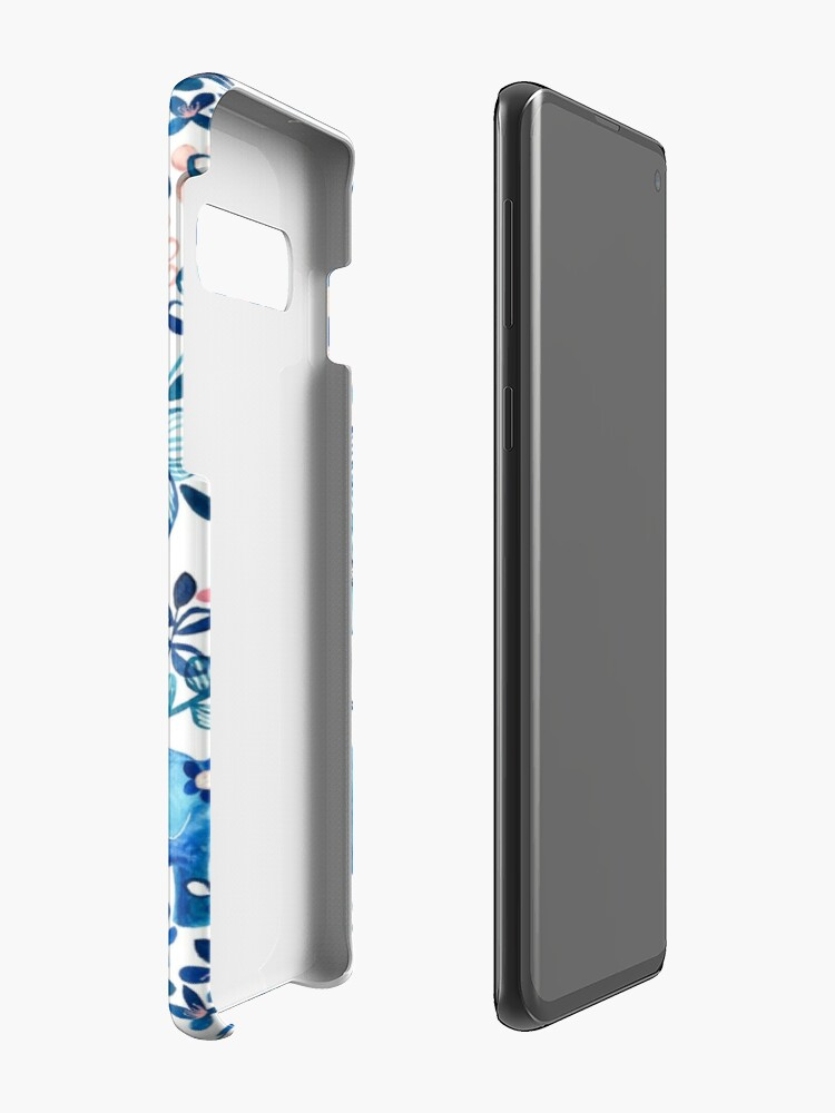 Alternate view of Blush Pink, White and Blue Elephant and Floral Watercolor Pattern Case & Skin for Samsung Galaxy