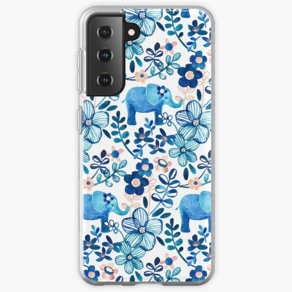 Blush Pink, White and Blue Elephant and Floral Watercolor Pattern Samsung Galaxy Soft Case