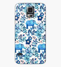 Funda/vinilo para Samsung Galaxy Blush rosa, blanco y azul elefante y patrón floral de la acuarela