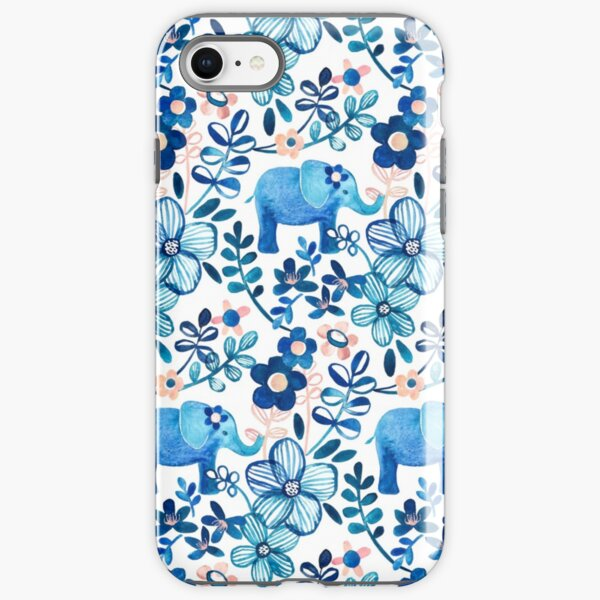 Blush Pink, White and Blue Elephant and Floral Watercolor Pattern iPhone Tough Case