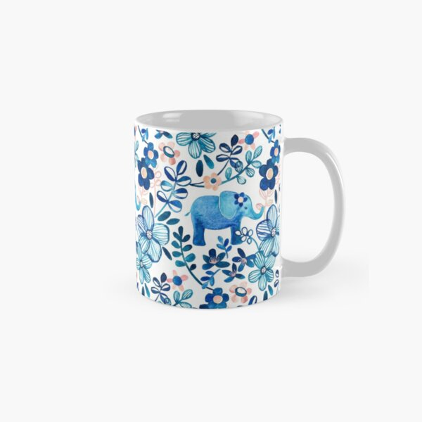 Blush Pink, White and Blue Elephant and Floral Watercolor Pattern Classic Mug