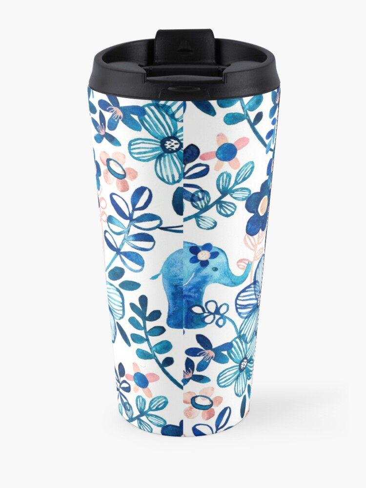 Alternate view of Blush Pink, White and Blue Elephant and Floral Watercolor Pattern Travel Mug