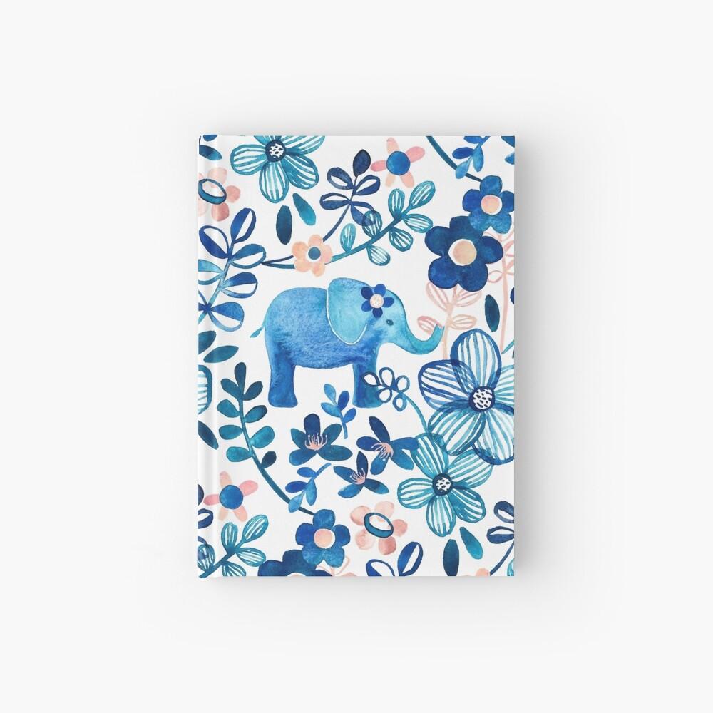 Blush rosa, blanco y azul elefante y patrón floral de la acuarela Cuaderno de tapa dura