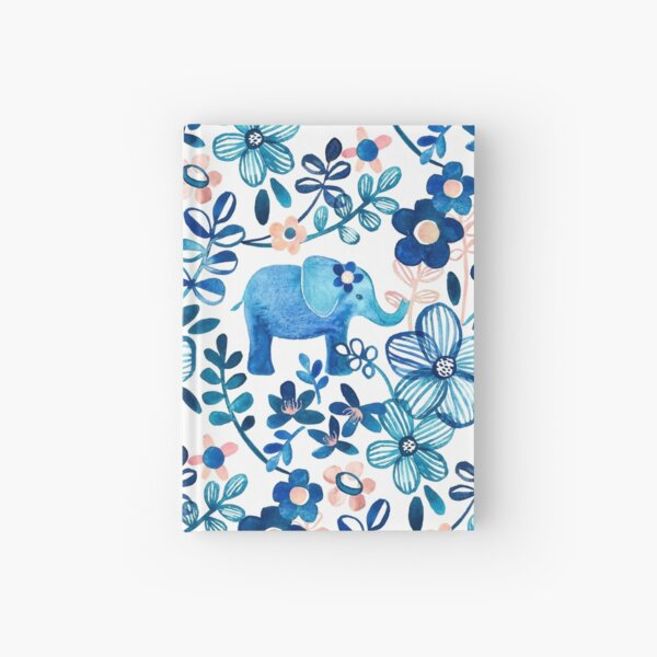 Blush Pink, White and Blue Elephant and Floral Watercolor Pattern Hardcover Journal