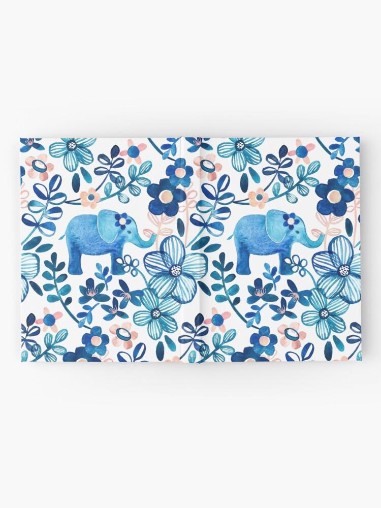 Vista alternativa de Cuaderno de tapa dura Blush rosa, blanco y azul elefante y patrón floral de la acuarela
