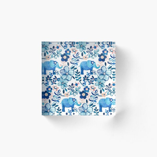 Blush Pink, White and Blue Elephant and Floral Watercolor Pattern Acrylic Block