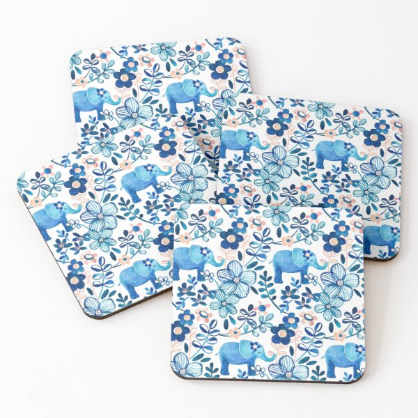 Blush Pink, White and Blue Elephant and Floral Watercolor Pattern Coasters (Set of 4)