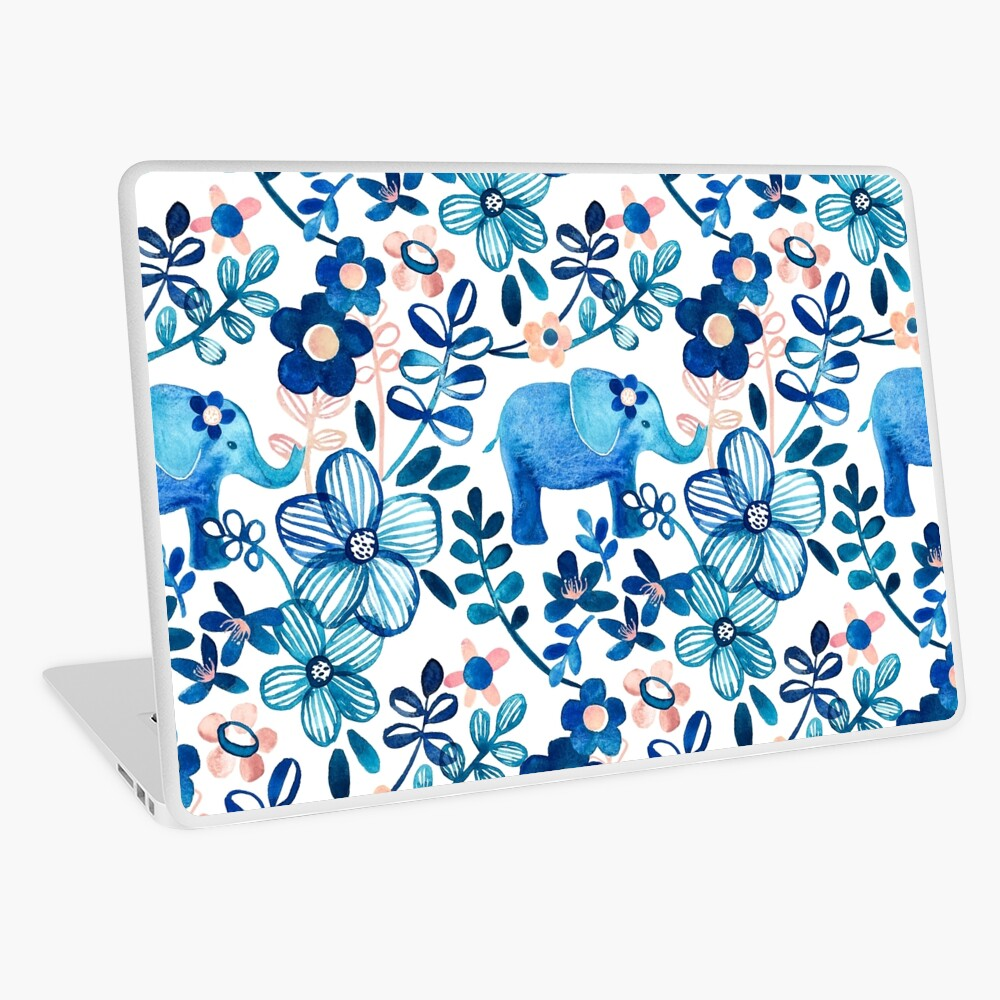 Blush Pink, White and Blue Elephant and Floral Watercolor Pattern Laptop Skin