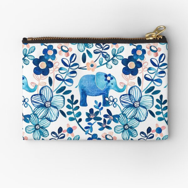 Blush Pink, White and Blue Elephant and Floral Watercolor Pattern Zipper Pouch