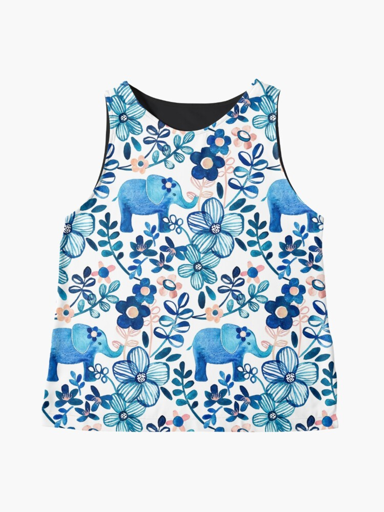 Alternate view of Blush Pink, White and Blue Elephant and Floral Watercolor Pattern Sleeveless Top