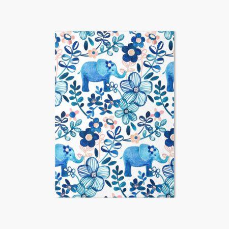 Blush Pink, White and Blue Elephant and Floral Pattern de acuarela Lámina rígida