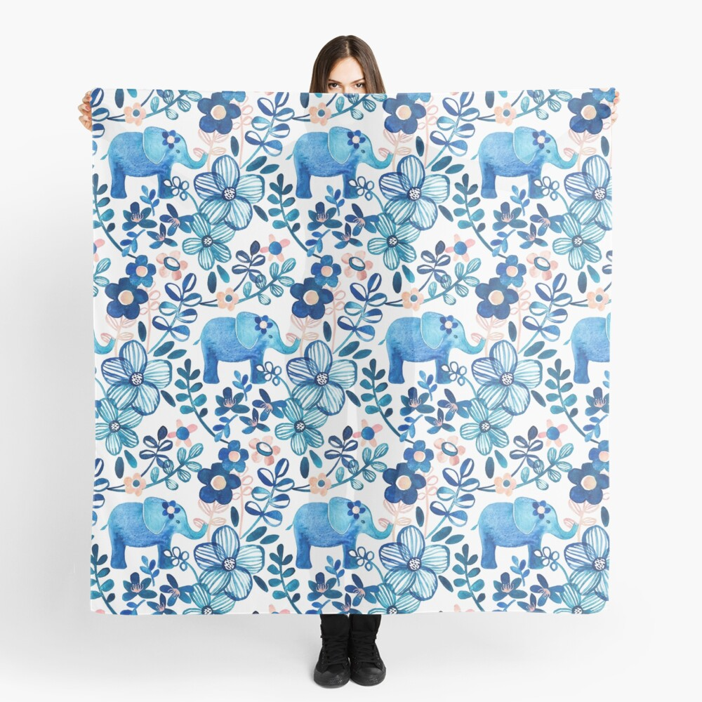 Blush Pink, White and Blue Elephant and Floral Watercolor Pattern Scarf