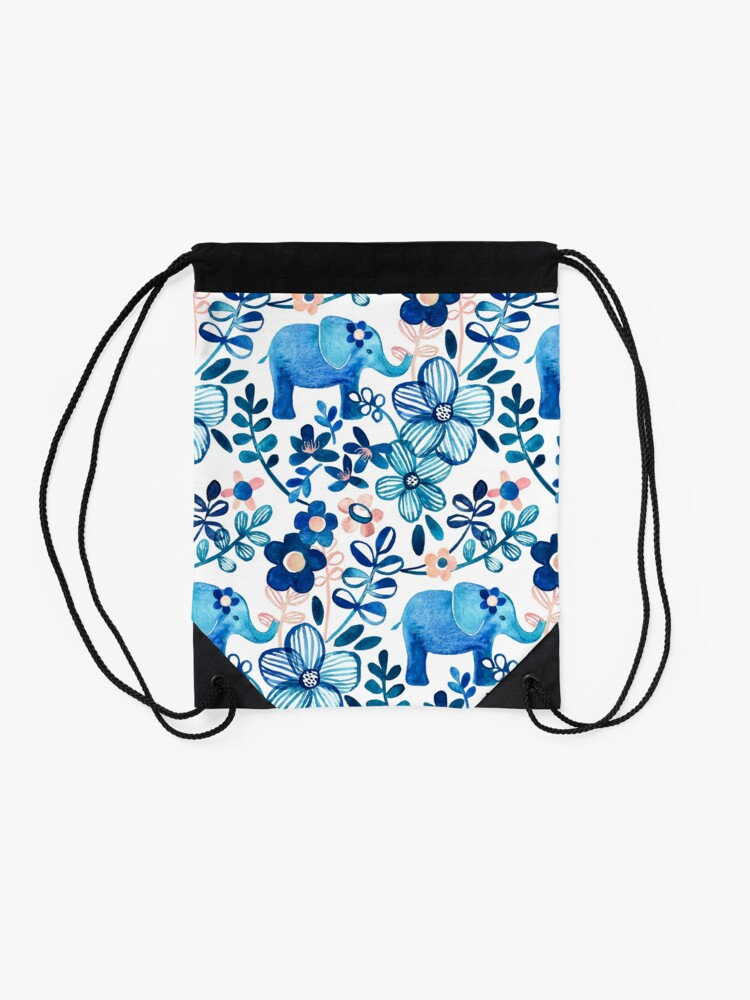 Alternate view of Blush Pink, White and Blue Elephant and Floral Watercolor Pattern Drawstring Bag