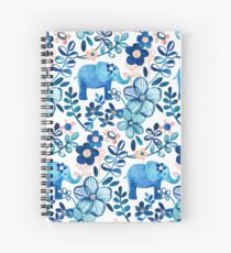 Cuaderno de espiral Blush rosa, blanco y azul elefante y patrón floral de la acuarela