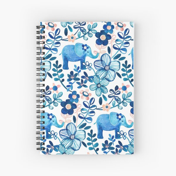Blush Pink, White and Blue Elephant and Floral Watercolor Pattern Spiral Notebook
