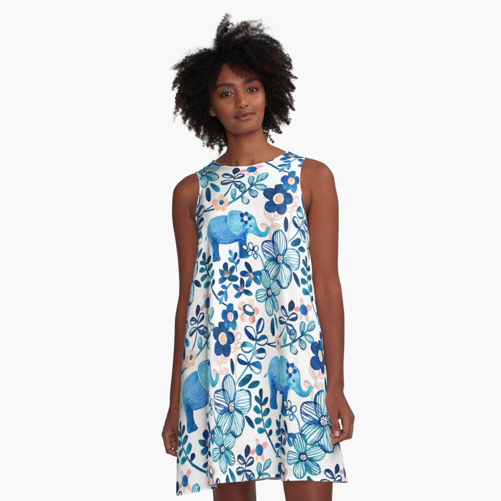 Blush Pink, White and Blue Elephant and Floral Watercolor Pattern A-Line Dress