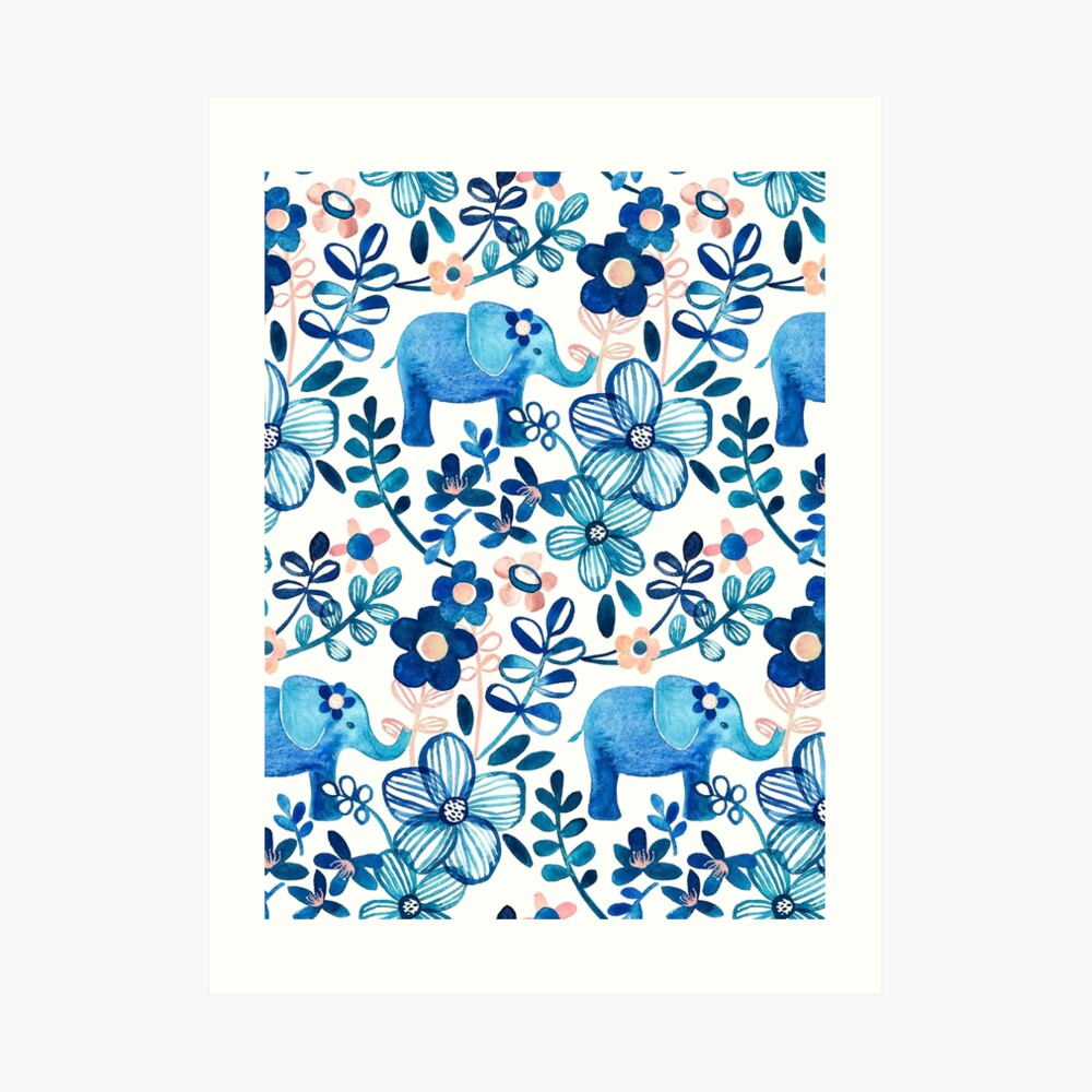 Blush Pink, White and Blue Elephant and Floral Watercolor Pattern Art Print
