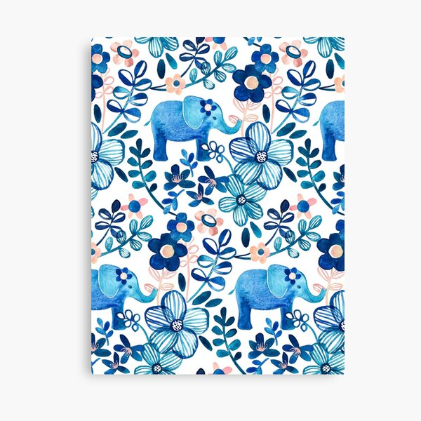 Blush Pink, White and Blue Elephant and Floral Watercolor Pattern Canvas Print