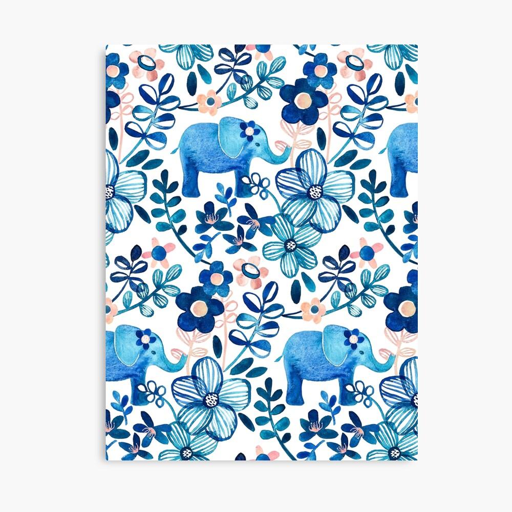 Rosa, weißer und blauer Elefant und Blumenaquarell-Muster erröten Leinwanddruck
