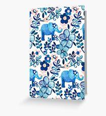 Rosa, weißer und blauer Elefant und Blumenaquarell-Muster erröten Grußkarte