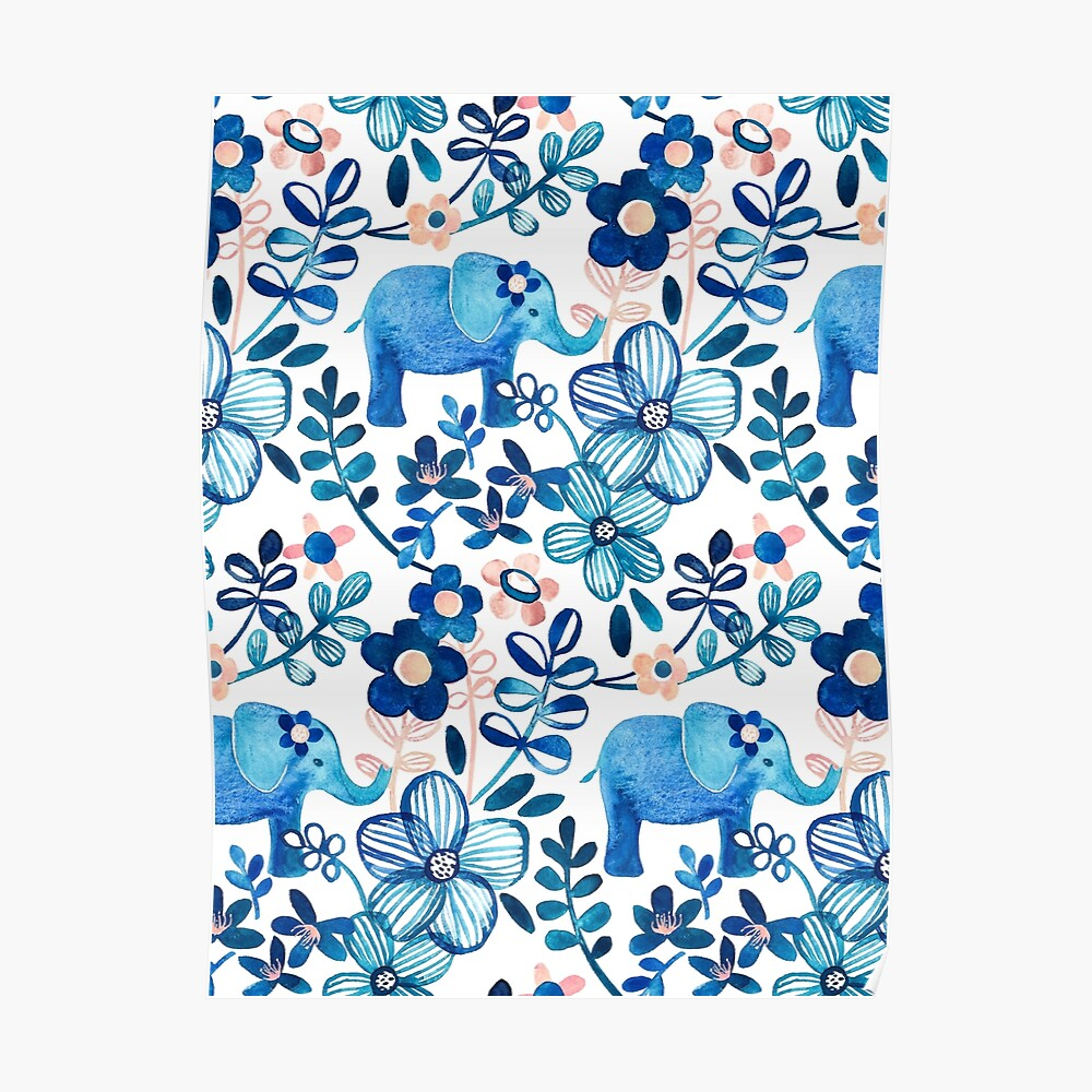 Blush Pink, White and Blue Elephant and Floral Watercolor Pattern Poster