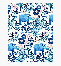 Blush Pink, White and Blue Elephant and Floral Watercolor Pattern Photographic Print