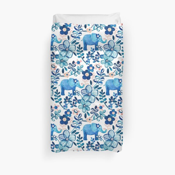 Blush Pink, White and Blue Elephant and Floral Watercolor Pattern Duvet Cover