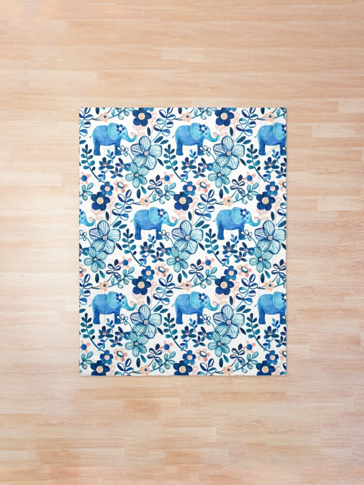 Alternate view of Blush Pink, White and Blue Elephant and Floral Watercolor Pattern Comforter