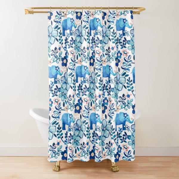 Blush Pink, White and Blue Elephant and Floral Watercolor Pattern Shower Curtain