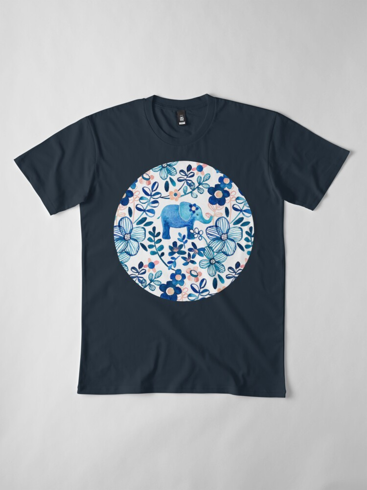 Alternate view of Blush Pink, White and Blue Elephant and Floral Watercolor Pattern Premium T-Shirt