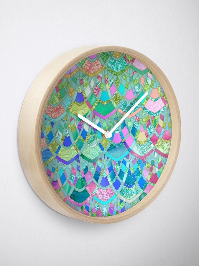 Alternate view of Art Deco Watercolor Patchwork Pattern 1 Clock