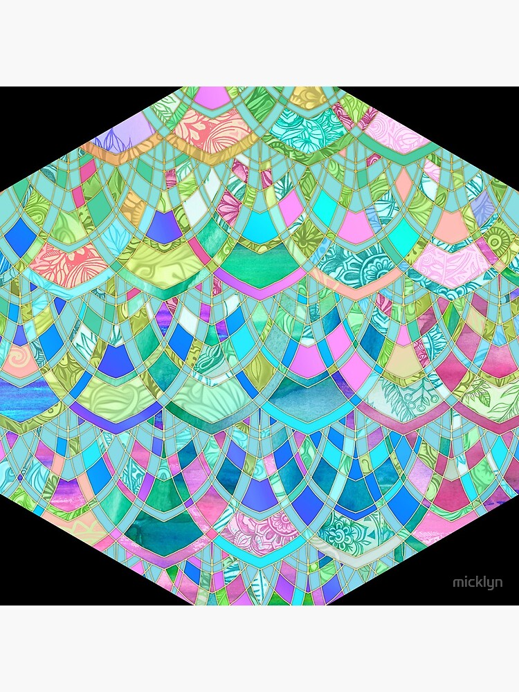Art Deco Watercolor Patchwork Pattern 1 by micklyn