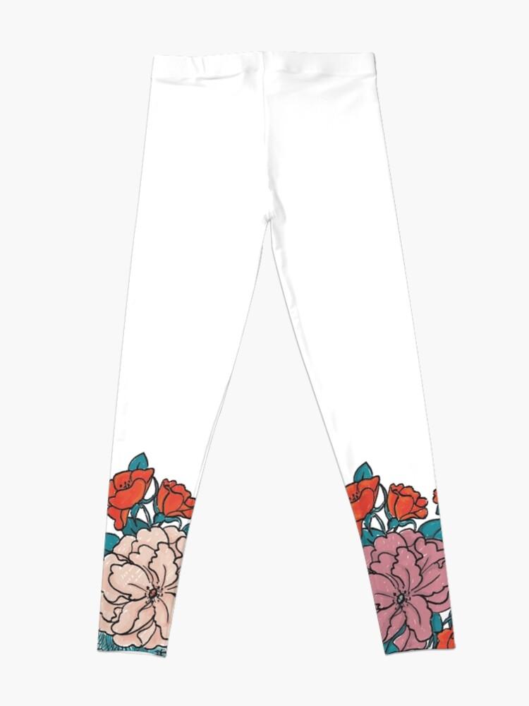 Alternative Ansicht von Asian Flowers-White Leggings