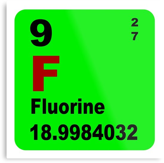 Fluorine Periodic Table Of Elements Metal Prints By Walterericsy