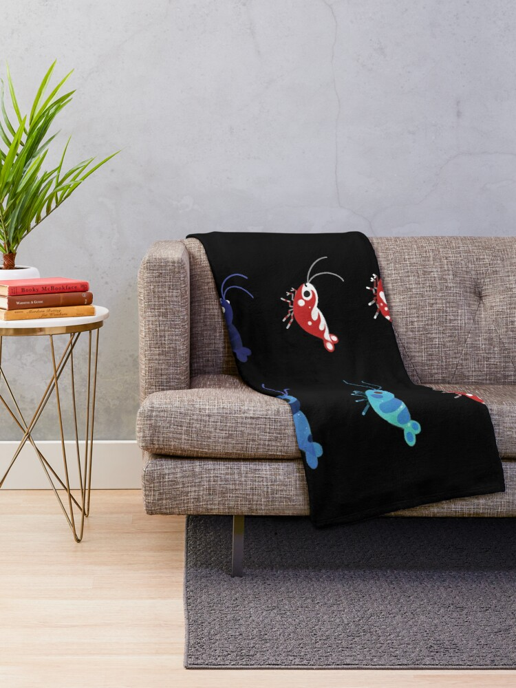 Alternate view of Red and blue shrimp Throw Blanket