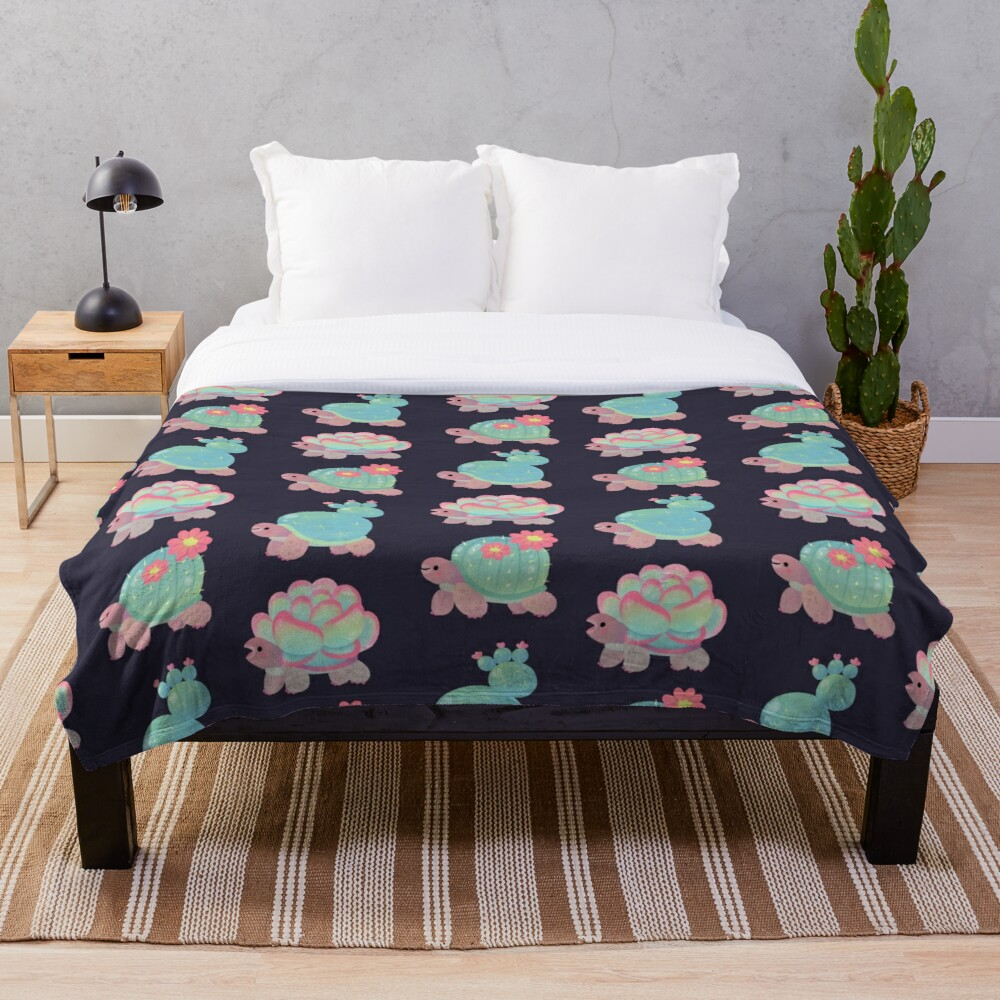 Cactus tortoise Throw Blanket