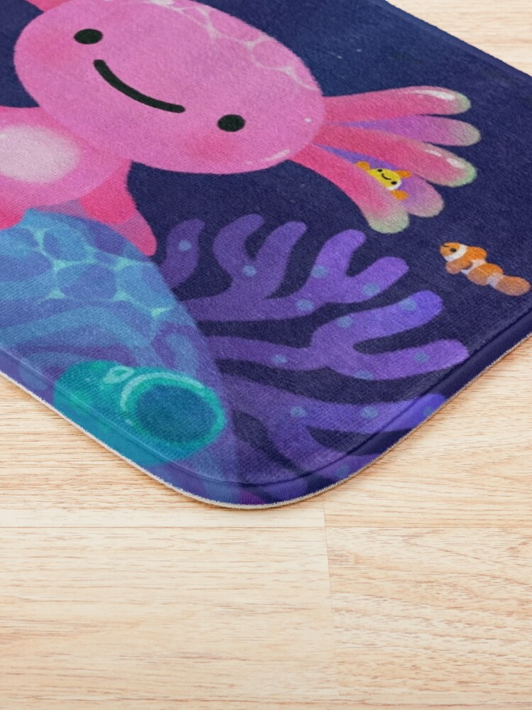 Alternate view of Coral axolotl Bath Mat