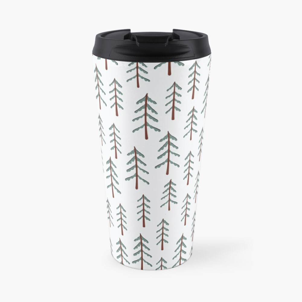 Fir tree doodle wood  Travel Mug