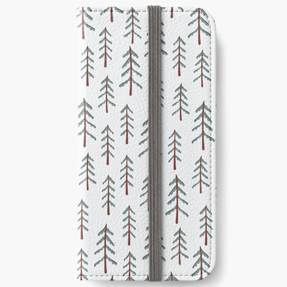 Fir tree doodle wood  iPhone Wallet