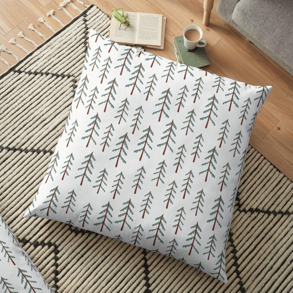 Fir tree doodle wood  Floor Pillow