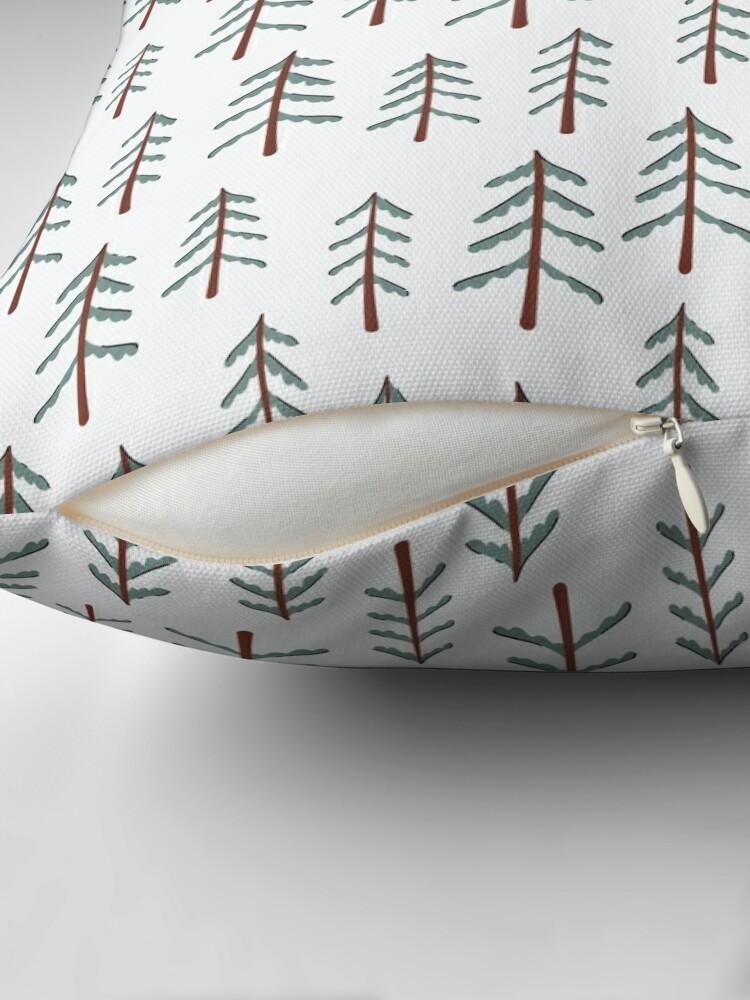 Alternate view of Fir tree doodle wood  Throw Pillow