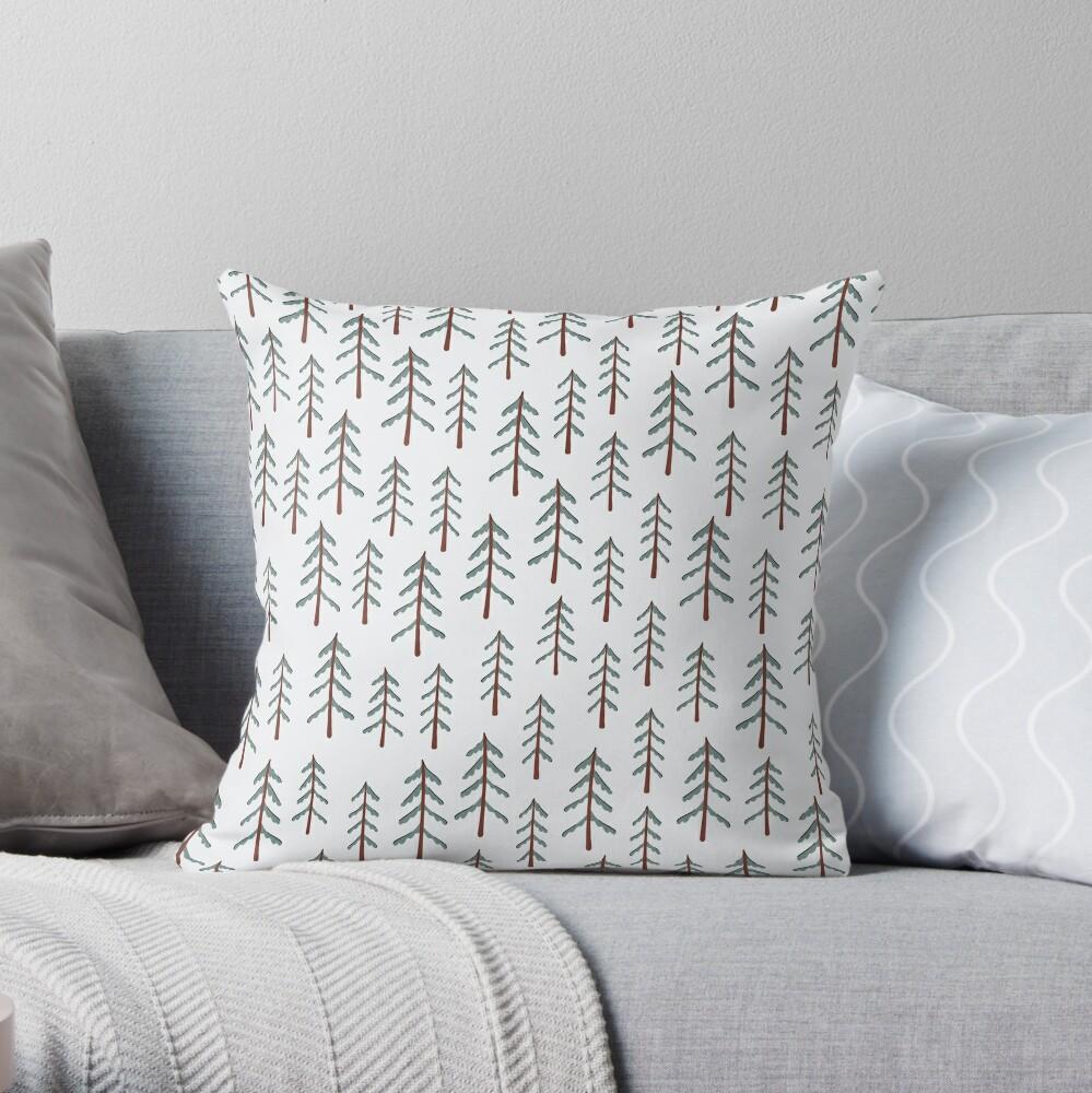 Fir tree doodle wood  Throw Pillow