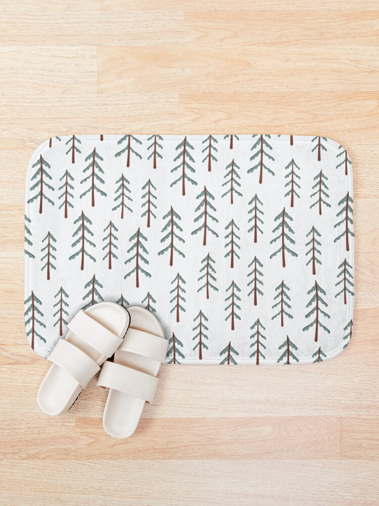 Alternate view of Fir tree doodle wood  Bath Mat