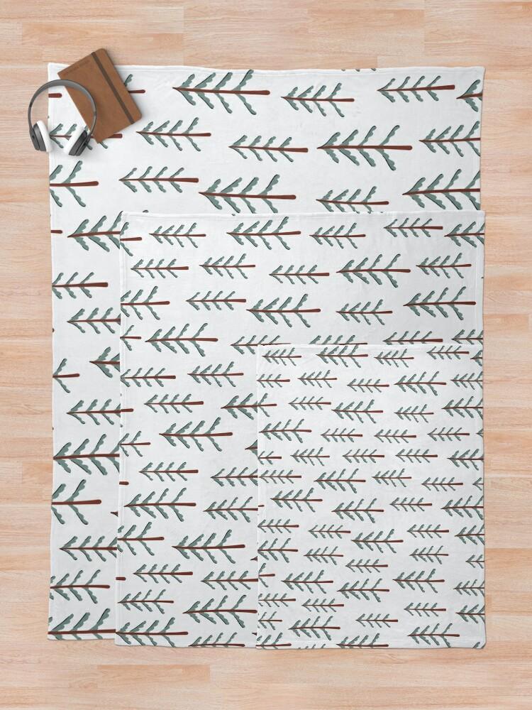 Alternate view of Fir tree doodle wood  Throw Blanket