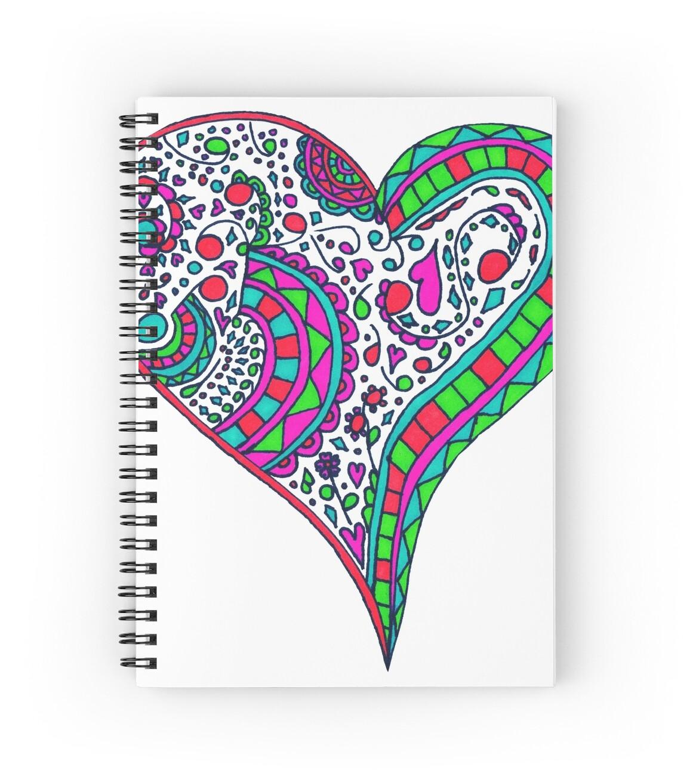 Coeur de Henna Vibrant Couleur Mandala de coeur », Cahiers à spirale ...