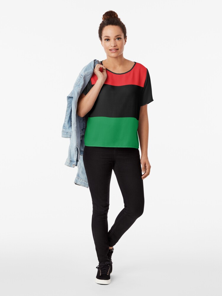 Alternate view of Pan African Flag T-Shirt - UNIA Flag Sticker - Afro American Flag Chiffon Top