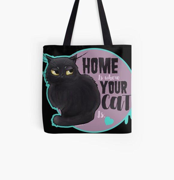 Home is where your cat is Bolsa estampada de tela
