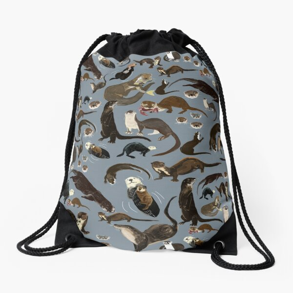 Old World otters Drawstring Bag