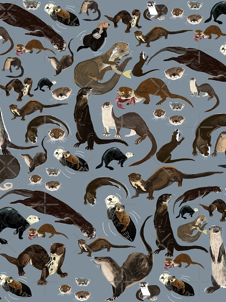 Old World otters by belettelepink